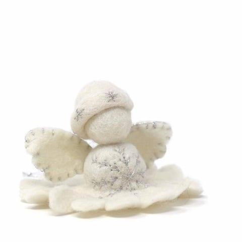 Handmade White Angel Felt Ornament (Nepal)