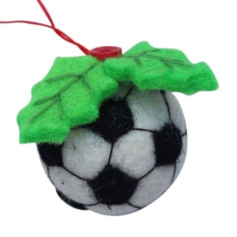 Handmade Soccer Ball Felt Christmas Ornament (Nepal)