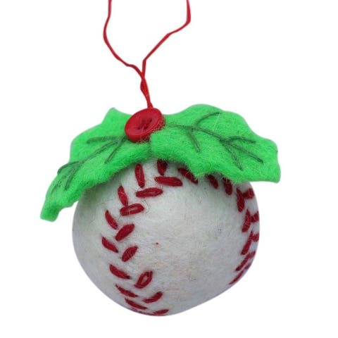 Handmade Baseball Felt Christmas Ornament (Nepal)