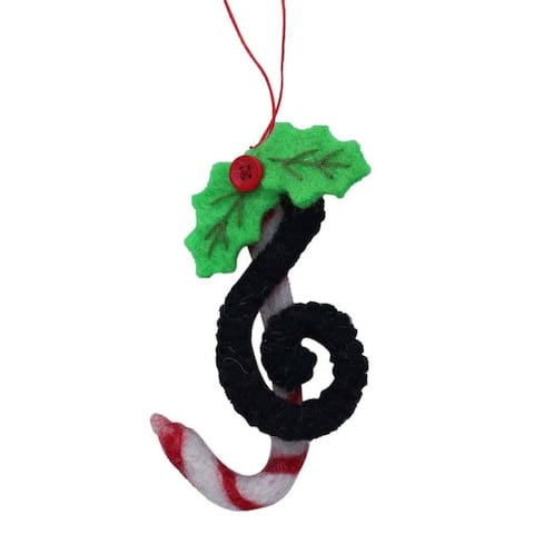 Handmade Treble Clef Felt Christmas Ornament (Nepal)