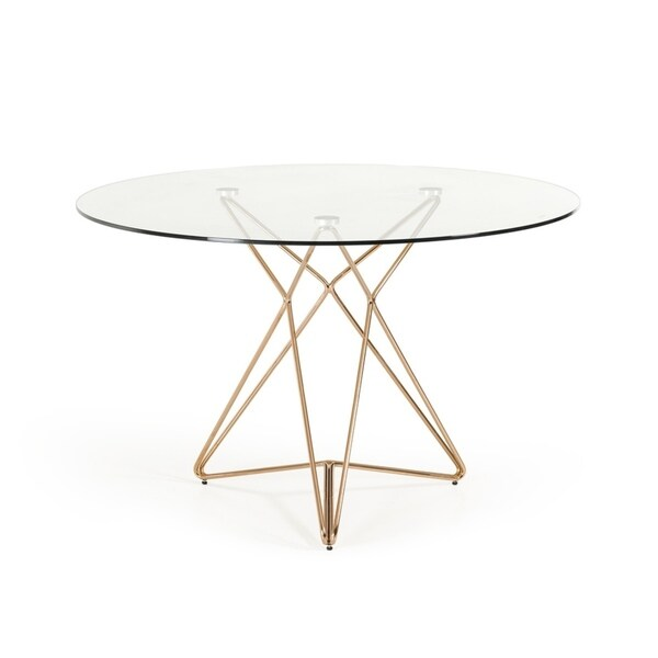 Shop Modrest Ashland Modern Glass Round Dining Table Rose