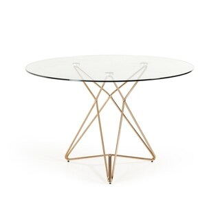 Modrest Ashland Modern Glass Round Dining Table - rose gold