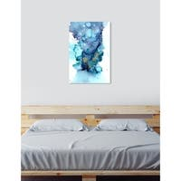 Oliver Gal 'Jamie Blicher - Whitney'  Abstract Wall Art Print on Premium Canvas - blue, teal