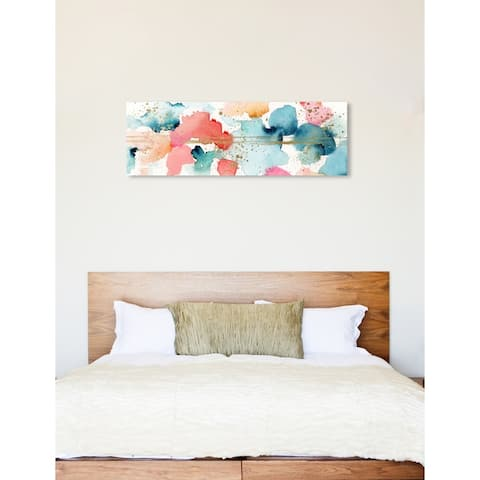 Oliver Gal 'Watercolor Clouds' Abstract Wall Art Canvas Print - Orange, Green