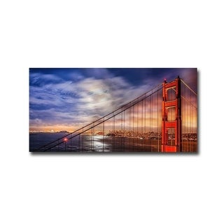North Tower Panorama Golden Gate Bridge by John Gavrilis Gallery Wrapped Canvas Giclee Art (12 in x 24 in, Ready to Hang)