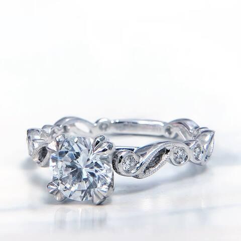 Lihara and Co. 18k White Gold 1/4ct TDW White Diamond Semi-Mount Engagement Ring (G-H, VS1-VS2)