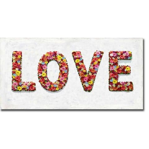 Floral Love by Jamie MacDowell Gallery Wrapped Canvas Giclee Art (12 in x 24 in, Ready to Hang)