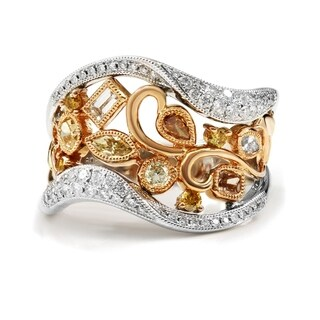 Lihara and Co. 18k Rose and White Gold 1/3ct TDW White Diamond and 3/4ct TDW Fancy Colored Diamond Fine Fashion Band