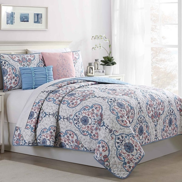 Amrapur Overseas Cologne 5-Piece Reversible Quilted Coverlet Set