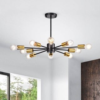 Lorena Sputnik 10-Light Chandelier in Black and Metallic Gold Finish (As Is Item)