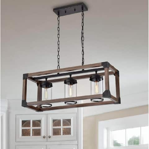 Daniela 3-light Antique Black Metal and Natural Wood Glass Chandelier