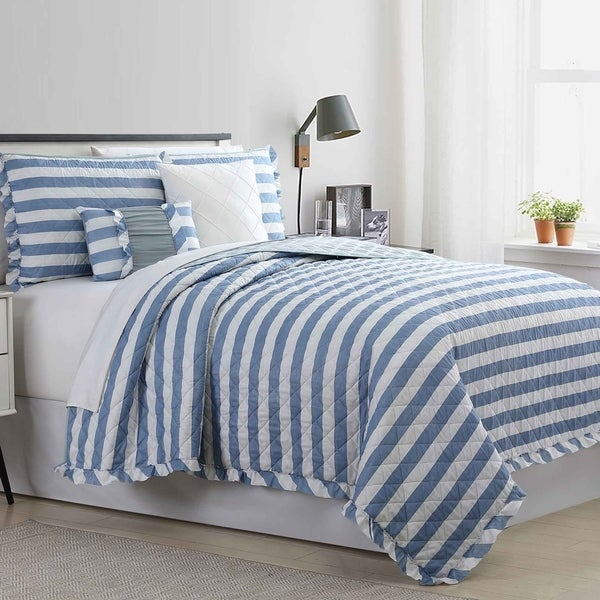 Amrapur Overseas Stripe 5-Piece Reversible Quilted Coverlet Set