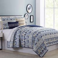Amrapur Overseas Tribal Geo 5-Piece Reversible Quilted Coverlet Set