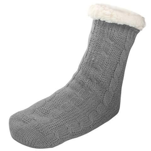 Womens Sherpa Lined Fleece Cable Knit Cozy Slipper Socks