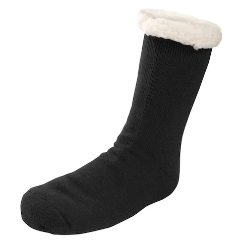Mens Sherpa Lined Knit Winter Fleece Cozy Slipper Socks Solid Color Knit