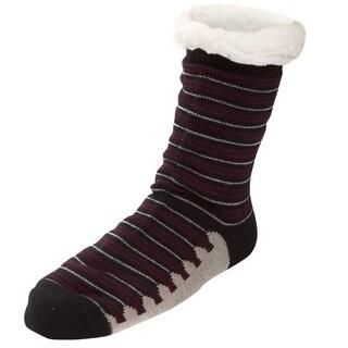 Mens Sherpa Lined Knit Winter Fleece Cozy Slipper Socks Stripe