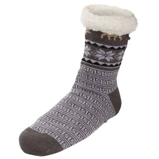 Mens Sherpa Lined Knit Winter Fleece Cozy Slipper Socks Snowflake Moose