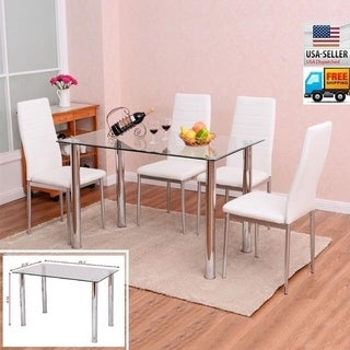 5 Piece Kitchen Room Furniture Glass Dining Table Set w/4 Chairs