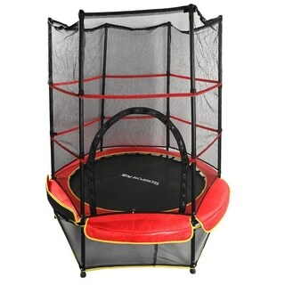"""55"""" Outdoor Round Exercise Play Backyard Trampoline w/ Safety Enclosure"""