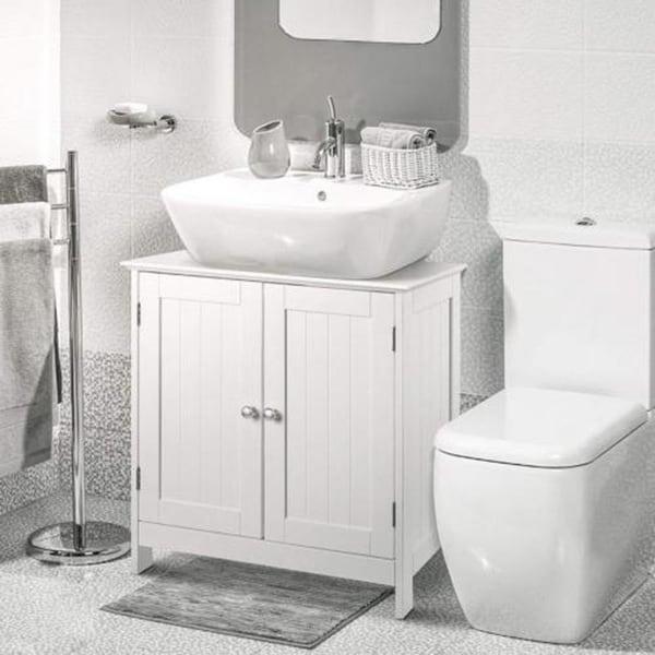 Bathroom Wood Vanity Storage Wall Mounted 2 Door Floor Cabinet