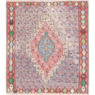 "Handmade Vegetable Dye Square Kilim Senneh Persian Wool Area Rug - 4'6"" square"