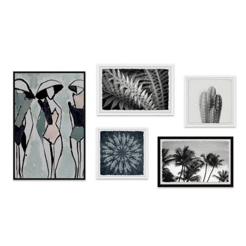 Marmont Hill - Handmade Drops of Argent Pentaptych Wall Art - Multi-color