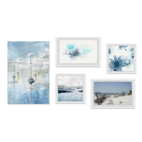Marmont Hill - Handmade Blue Casts Pentaptych