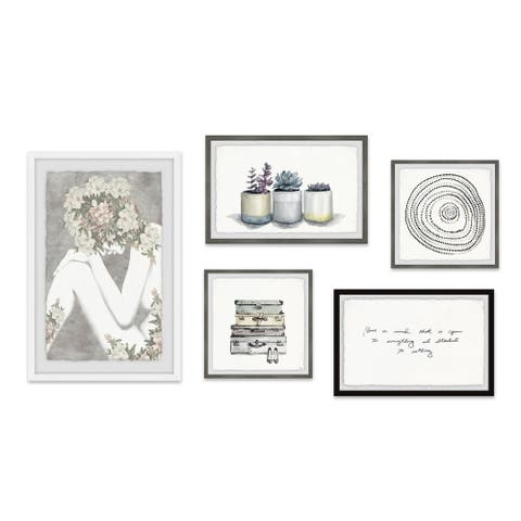 Marmont Hill - Handmade Muted Patterns Pentaptych - Multi-color