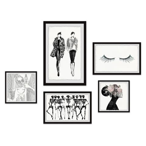 Marmont Hill - Handmade Fashionable Juxtapositions Pentaptych - Multi-color