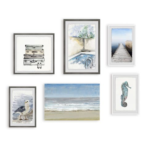Marmont Hill - Handmade Solo Traveler Hexaptych Wall Art - Multi-color