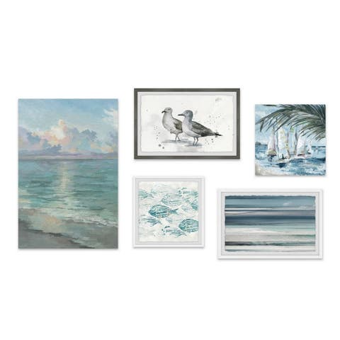Marmont Hill - Handmade Aquatic Life Beyond Pentaptych - Multi-color