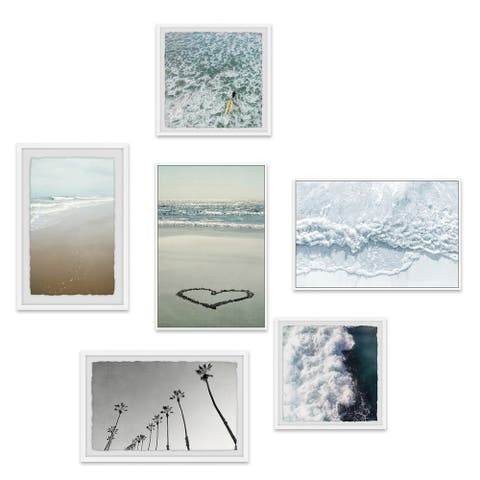 Marmont Hill - Handmade Lets Make Waves Hexaptych - Multi-color