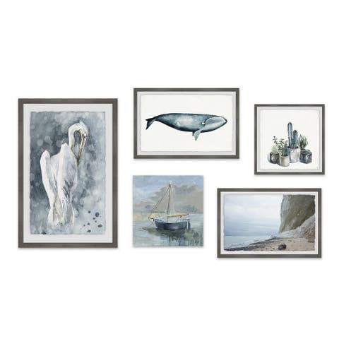 Marmont Hill - Handmade Paisible Solitude Pentaptych - Multi-color