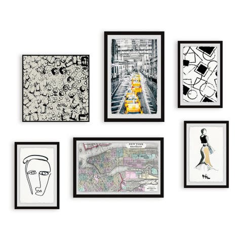 Marmont Hill - Handmade A Yellow Cab Hexaptych
