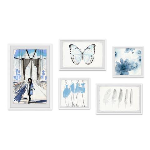Marmont Hill - Handmade Aquatic Blue Surprise Pentaptych - Multi-color