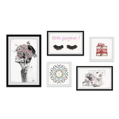 Marmont Hill - Handmade A Splash of Rose Pentaptych - Multi-color