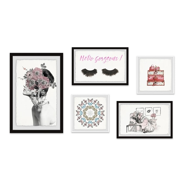 Marmont Hill - Handmade A Splash of Rose Pentaptych - Multi-color. Opens flyout.