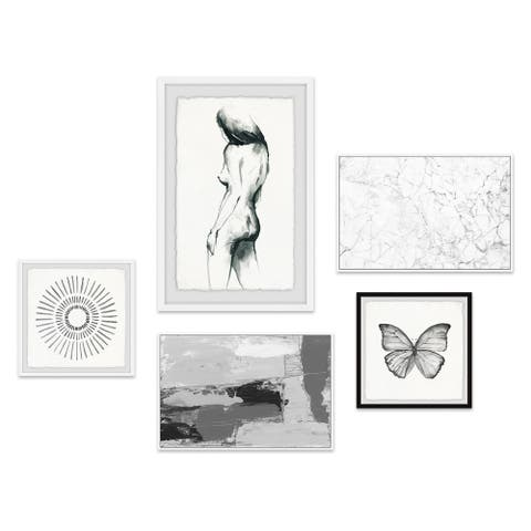 Marmont Hill - Handmade Nude Musings Pentaptych - Multi-color