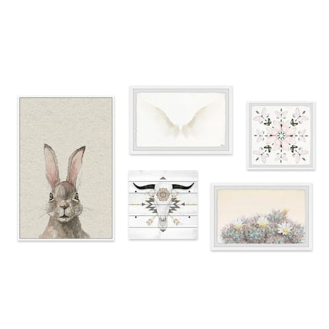 Marmont Hill - Handmade Gray Boho Pentaptych - Multi-color