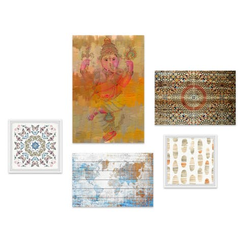 Marmont Hill - Handmade Into India Pentaptych - Multi-color