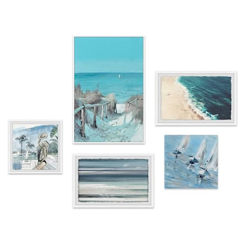 Marmont Hill - Handmade La Plage Cachee Pentaptych - Multi-color