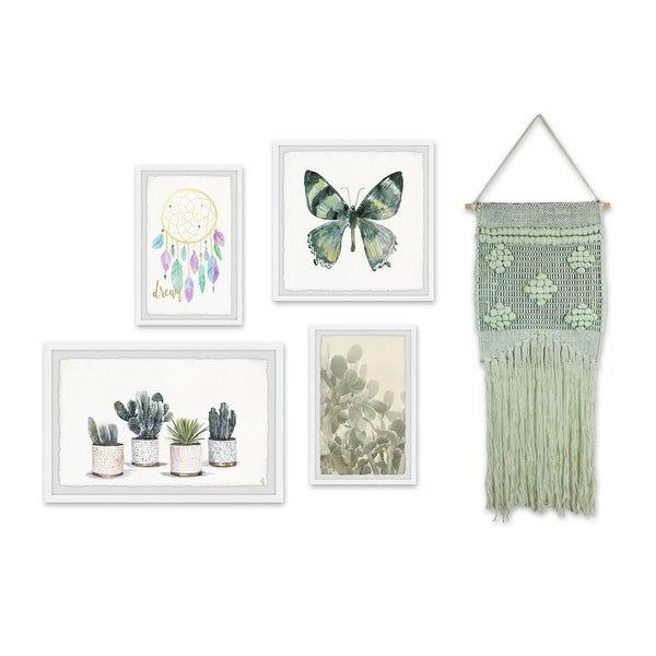 Marmont Hill - Handmade Laurel Boho Pentaptych - Multi-color. Opens flyout.