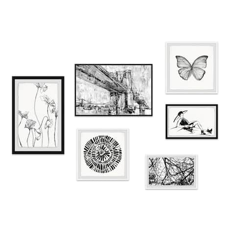 Marmont Hill - Handmade Ink Contours Hexaptych