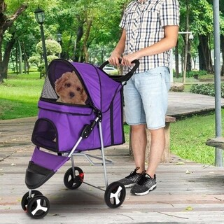 Travel Folding Cat Dog Carrier Pet Stroller 3 Wheels Walk Jogger