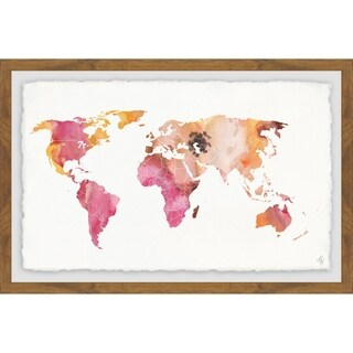 Marmont Hill - Handmade Watercolor Map Framed Print