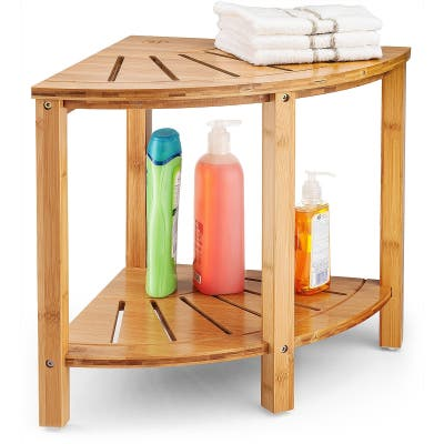Corner Shower Bench with Shelves for Home Decor, for Indoor & Outdoor
