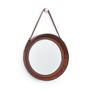 Equestrian Natural Leather and Brass Mirror