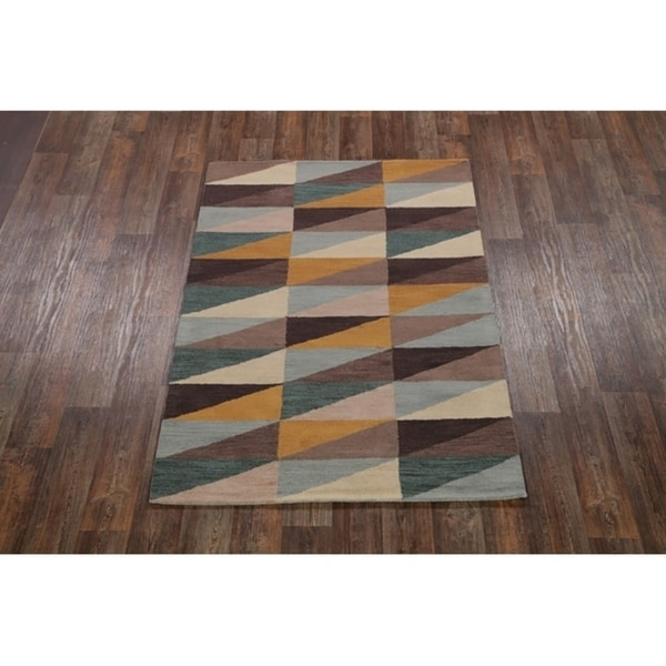 Shop Oushak Floral Tufted Wool Persian Oriental Area Rug: Shop Hand Tufted Wool Oushak Modern Oriental Zig Zag