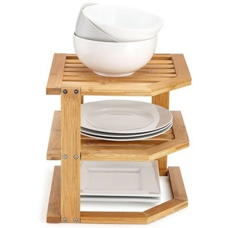 Bambusi Corner Kitchen Storage Shelf for Organizing Plates and Bowls
