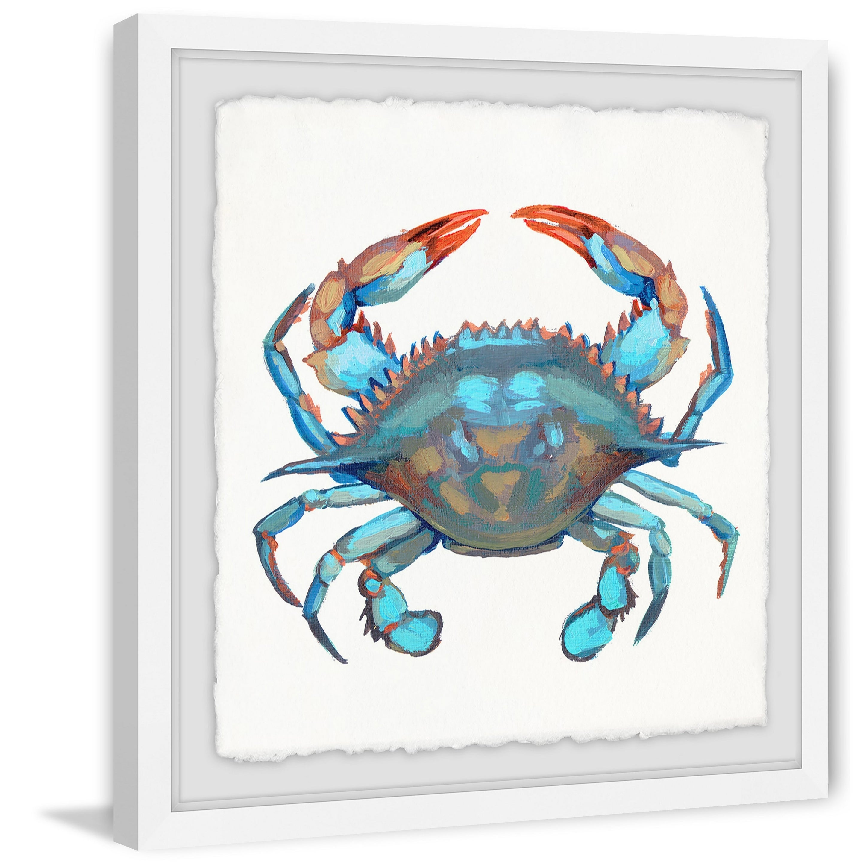 Marmont Hill Handmade Icy Blue Crab Framed Print Overstock 24126567